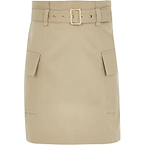 Girls beige belted utility A line skirt