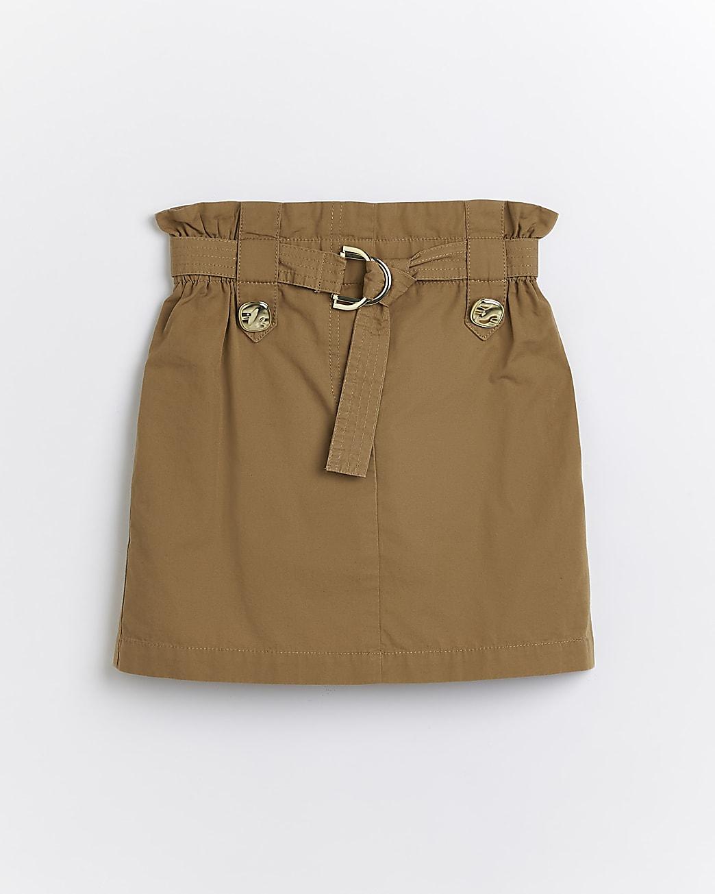 Girls beige belted utility skirt