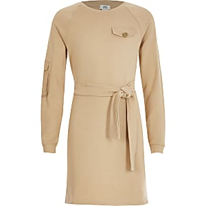 Robe utilitaire beigeà ceinture pour fille