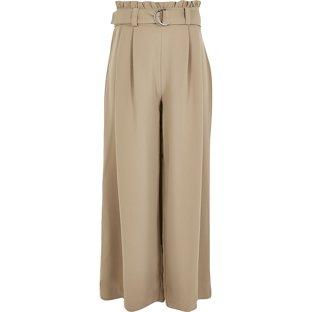 Girls beige belted wide leg trousers