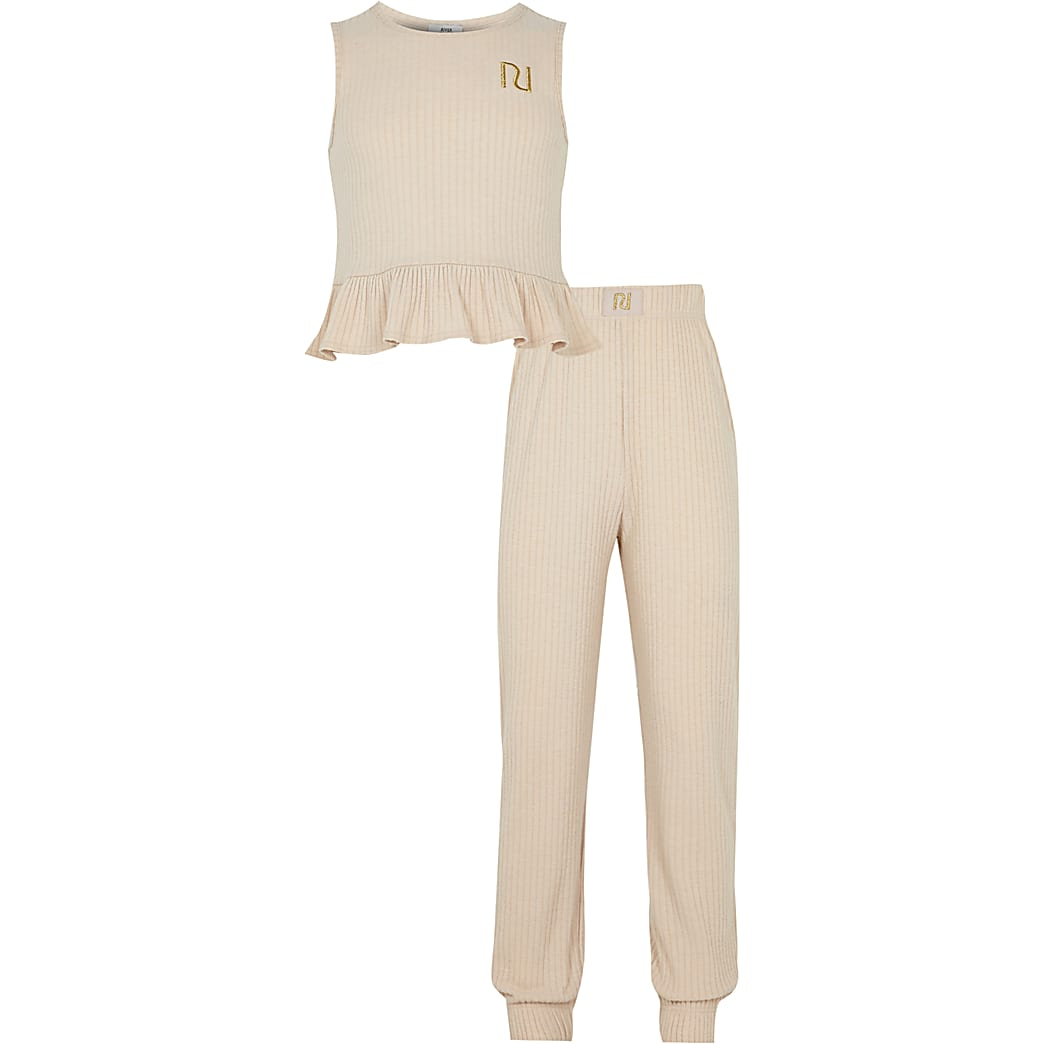 Girls beige boxed ribbed peplum lounge set