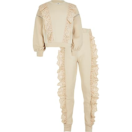 Girls beige broderie frill sweat outfit