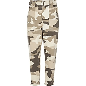 Pantalons taille haute ceinturée beige camouflage pour fille