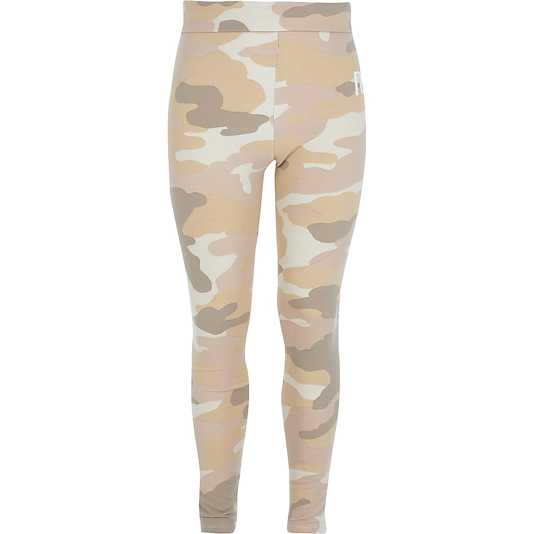 Beige legging met camouflageprint, omgeslagen taille en RI-print voor meisjes