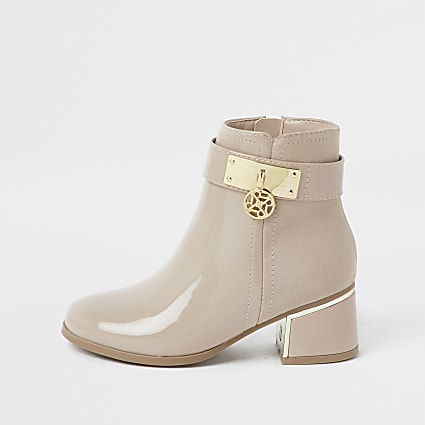 Girls beige charm ankle boots