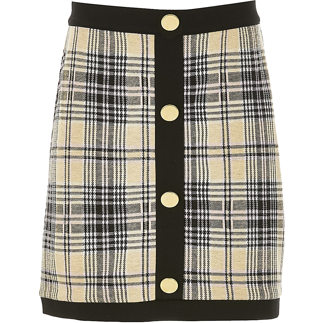 Girls beige check A line button skirt