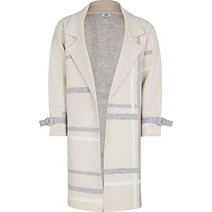 Girls beige check print duster jacket