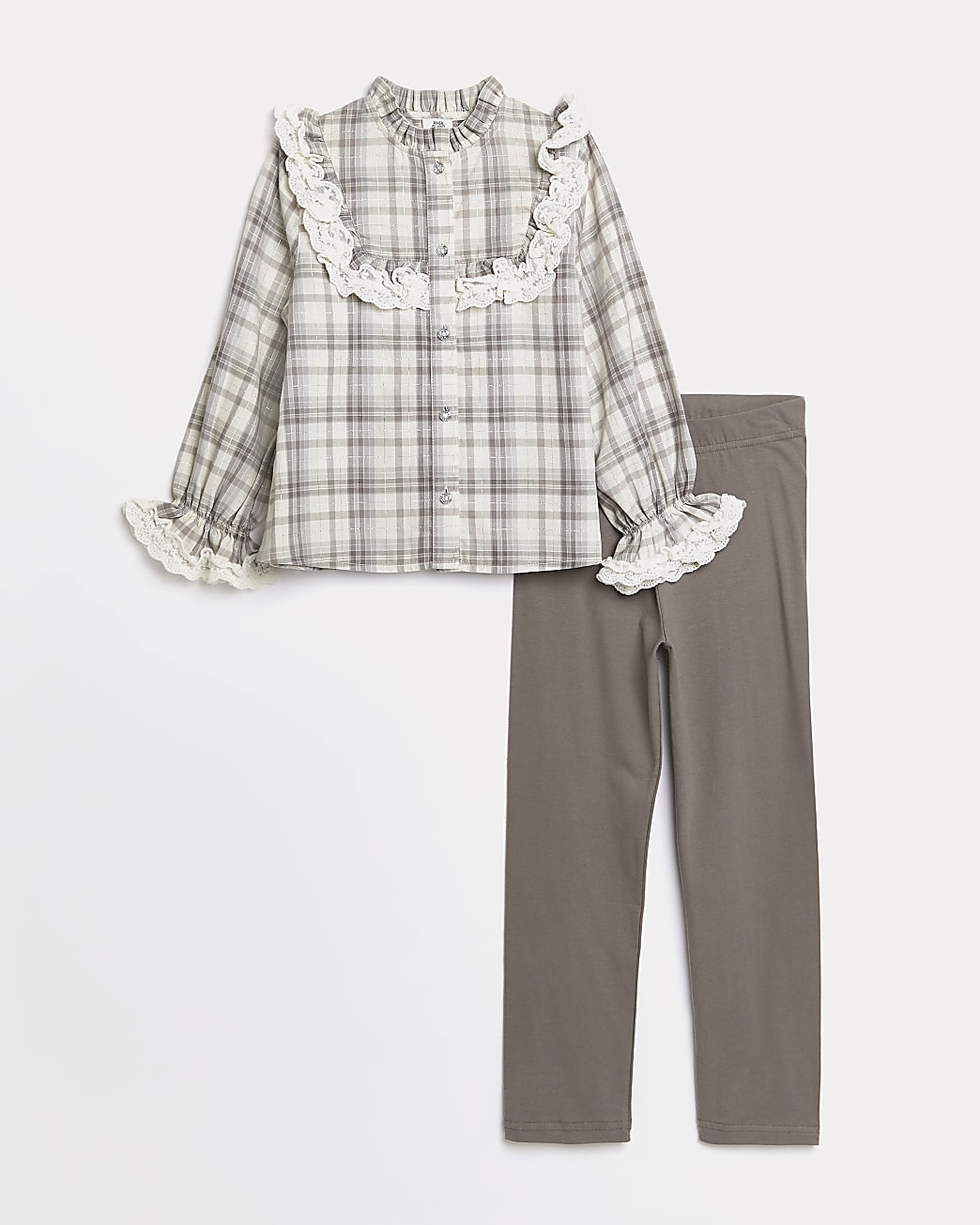 Girls beige check print frill shirt outfit