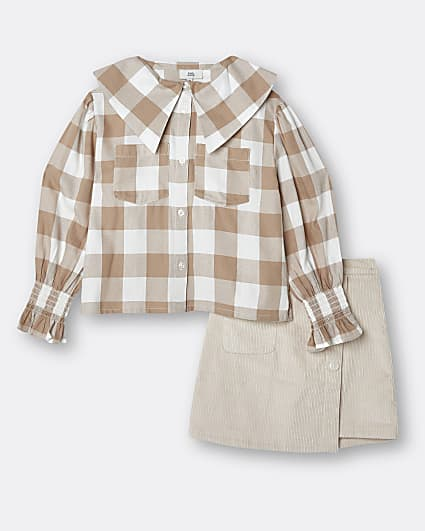 Girls beige check print shirt and skirt set