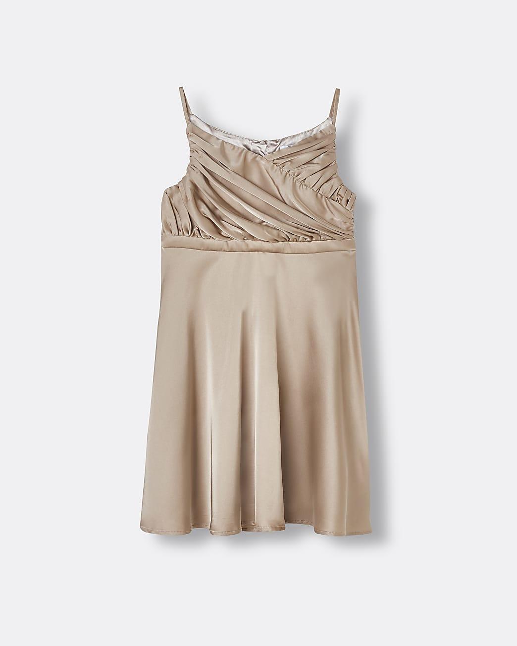 Girls beige Chi Chi pleated satin dress