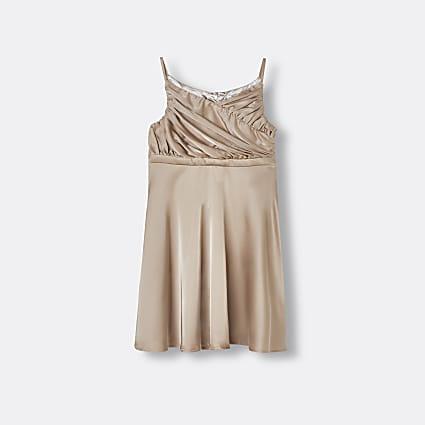 Girls beige Chi Chi Ppleated satin dress