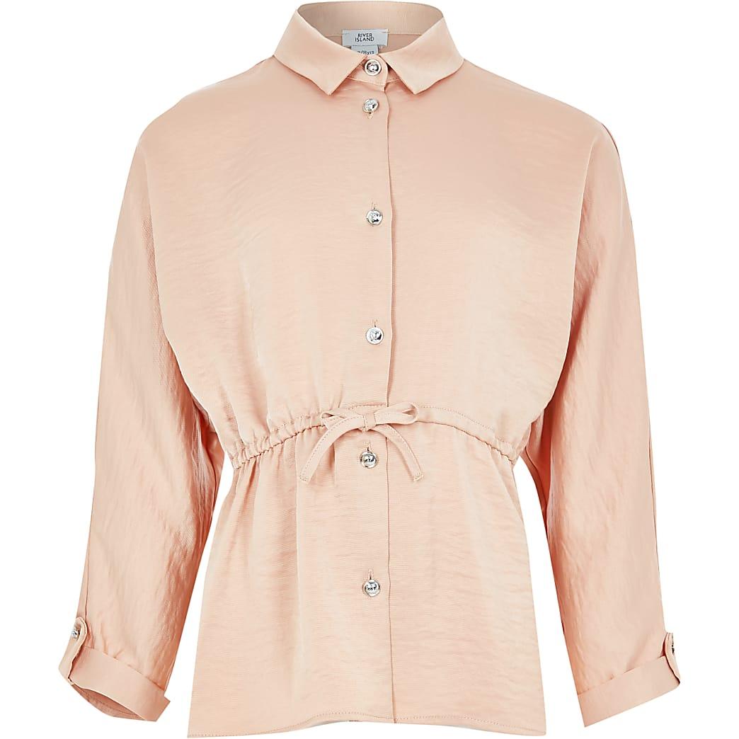 Girls beige cinched waist shirt