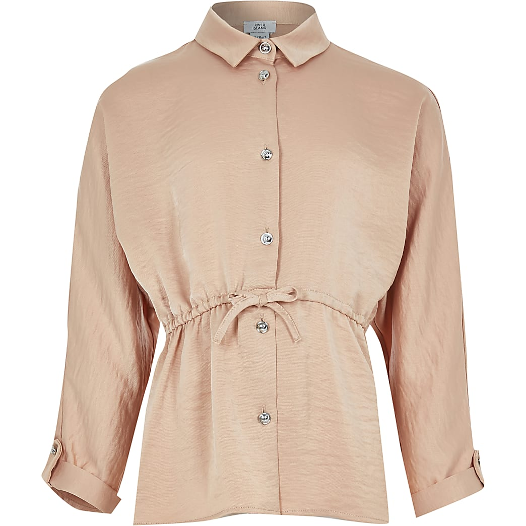 Girls beige cinched waist shirt