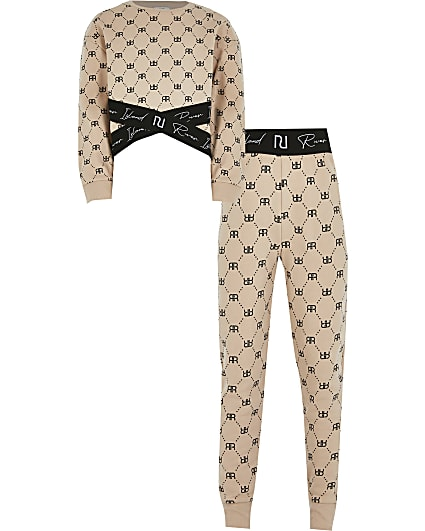 Girls beige cross over sweat outfit