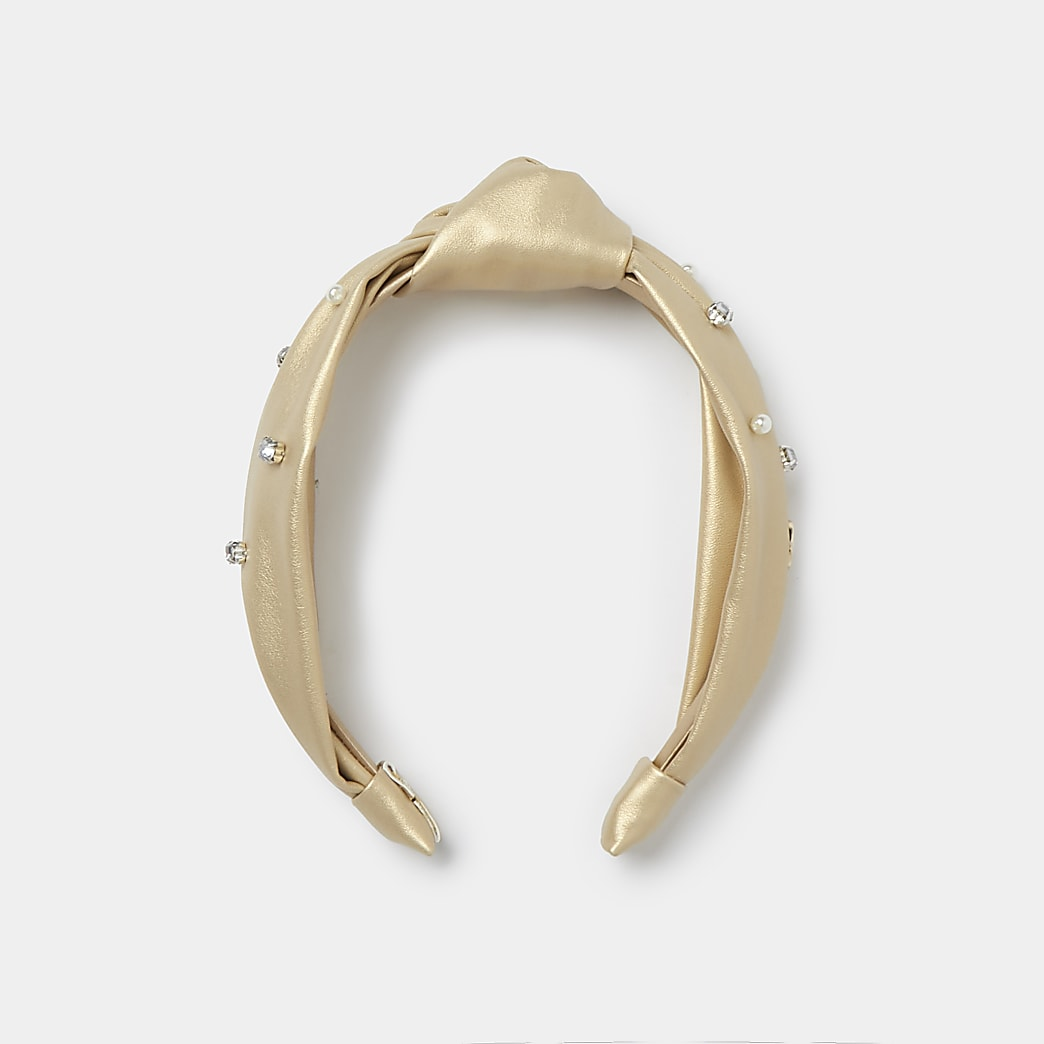 Girls beige diamante bow headband