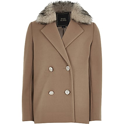 Girls beige double breasted fur trim coat