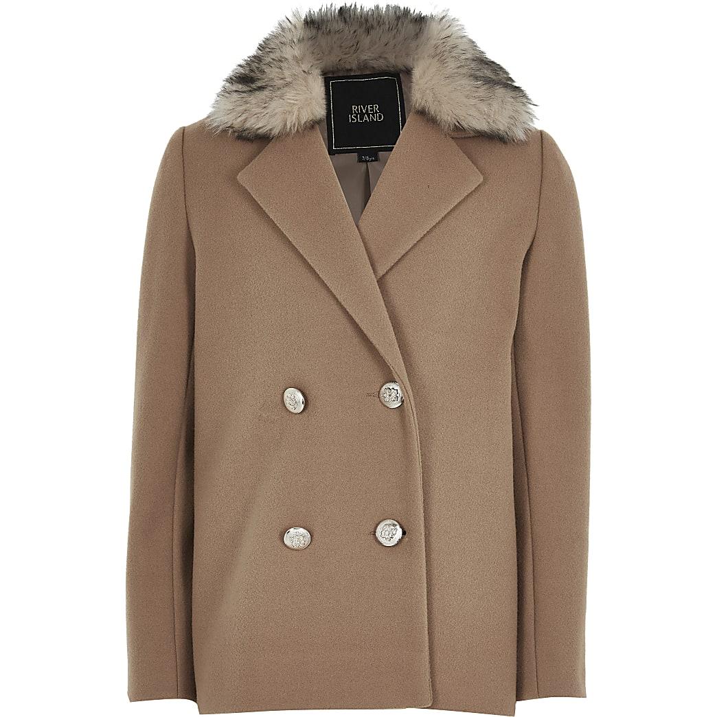 Girls beige double breasted fur trim coat