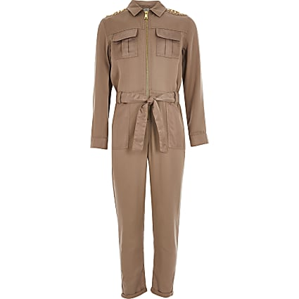 Girls beige embellished satin jumpsuit