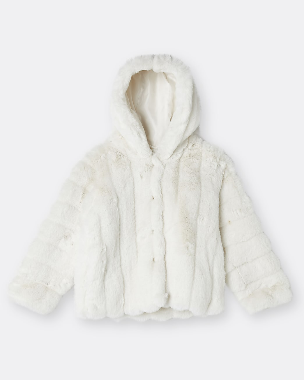 Girls beige faux fur hood coat