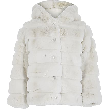 Girls beige faux fur hood coat
