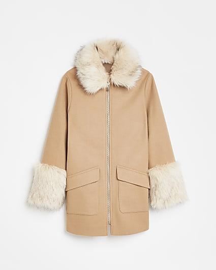 Girls beige faux fur trim wool coat