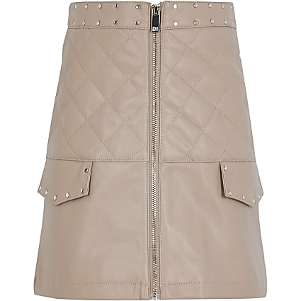 Girls beige faux leather zip front skirt