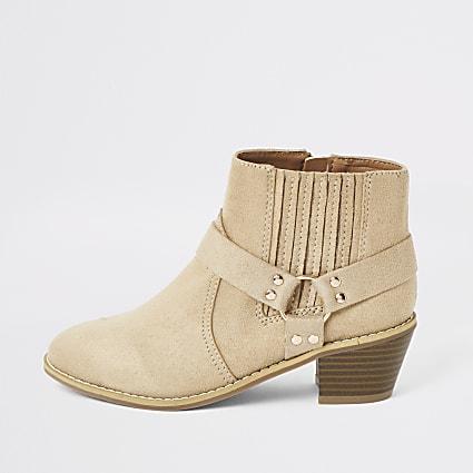 Girls beige faux suede western heeled boot