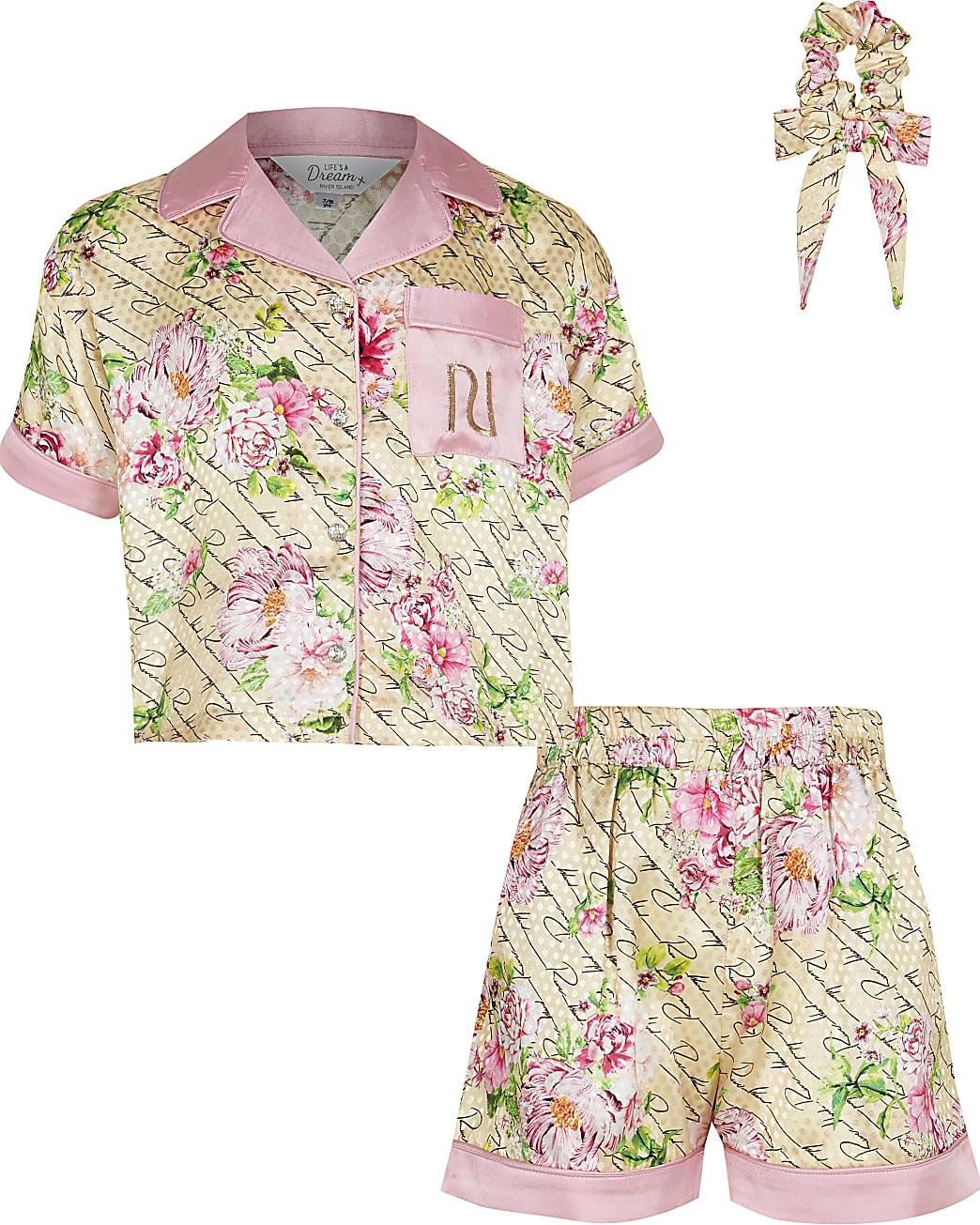 Girls beige floral boxy satin pyjama set