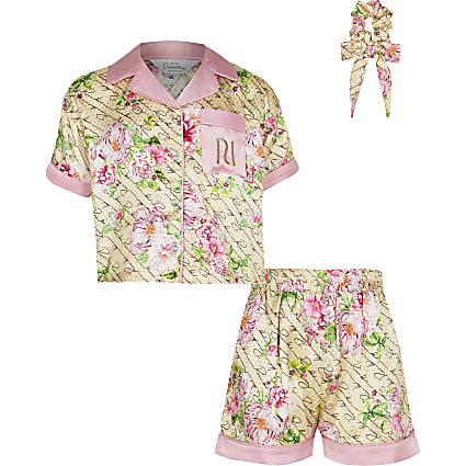 Girls beige floral boxy satin pyjama set