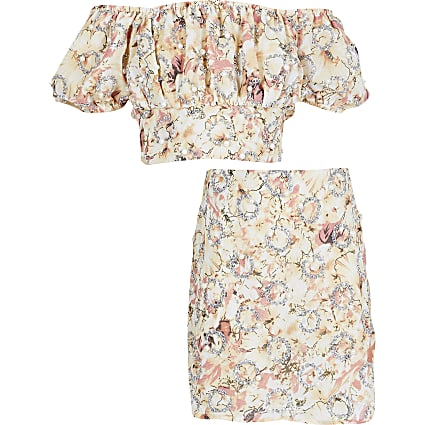 Girls beige floral print skirt outfit
