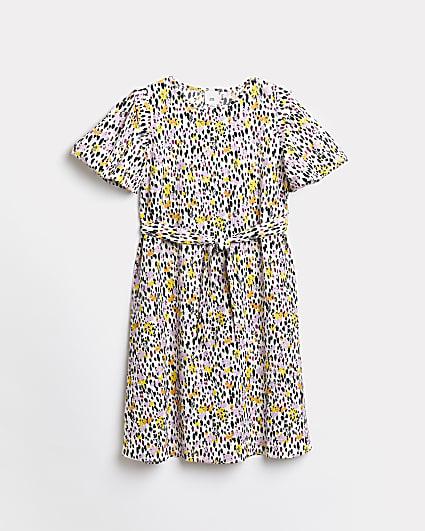 Girls beige floral tie waist midi dress