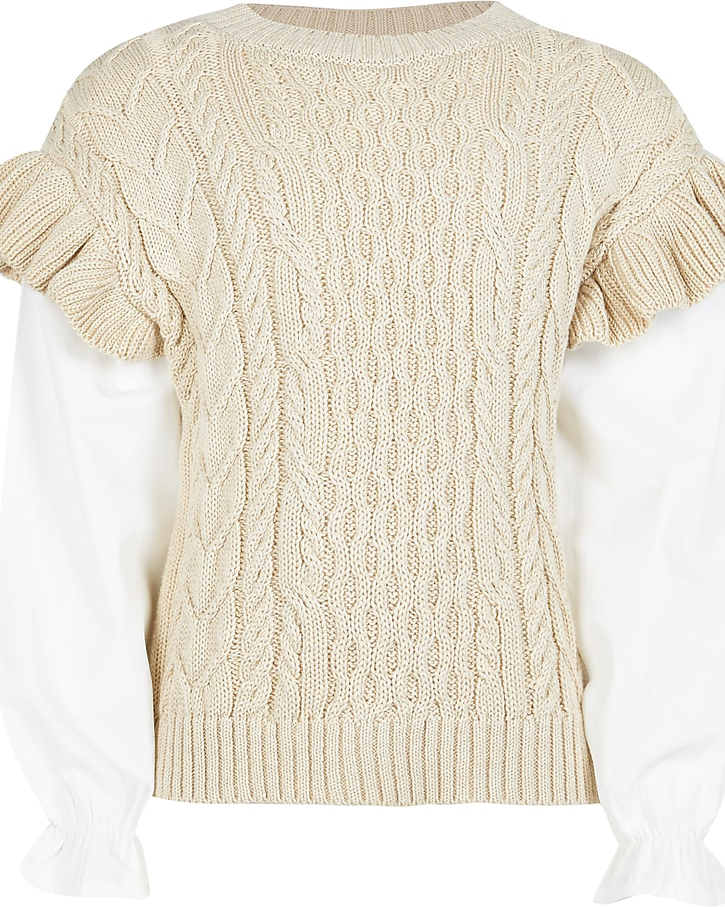 Girls beige frill 2 in 1 jumper