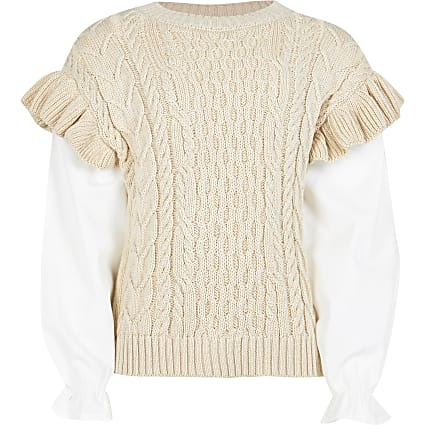 Girls beige frill 2 in 1 jumper