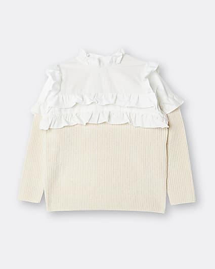 Girls beige frill collar jumper