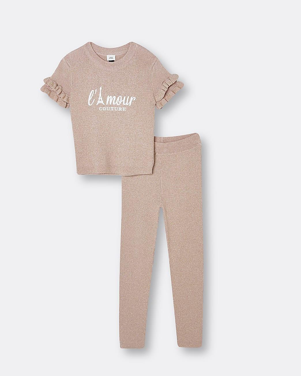 Girls beige frill t-shirt and leggings