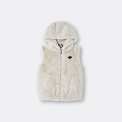 Girls beige hooded faux fur gilet