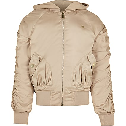 Girls beige hooded ruched bomber jacket