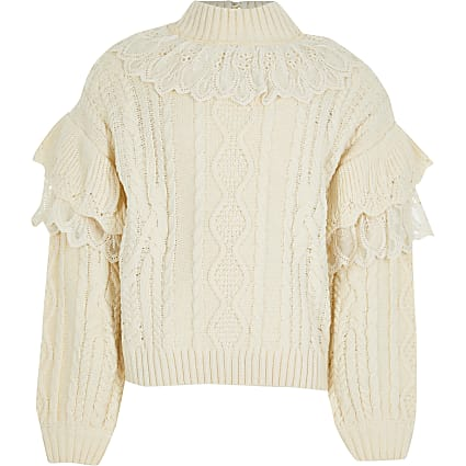 Girls beige lace frill high neck jumper
