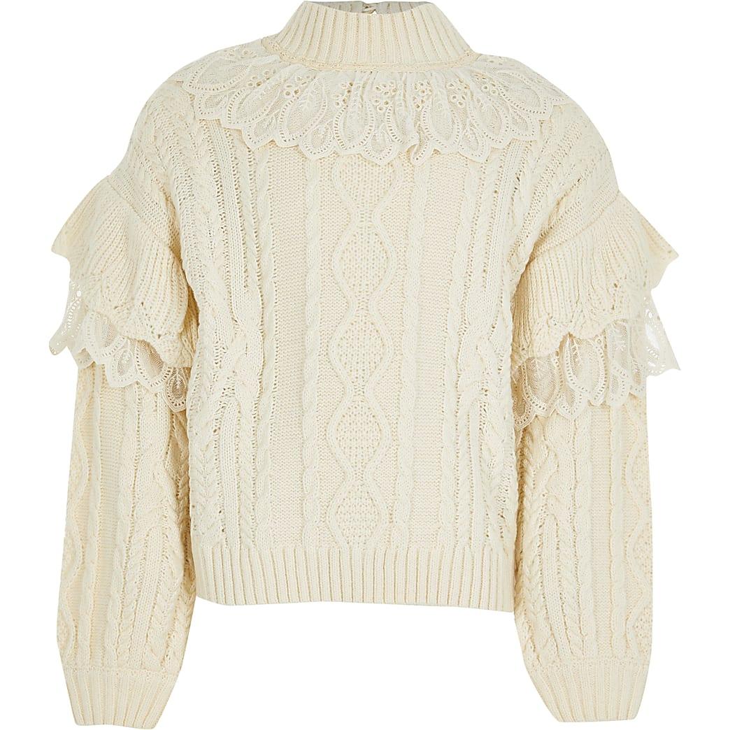 Girls beige lace frill high neck jumper