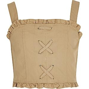 Top court effet corset beige pour fille