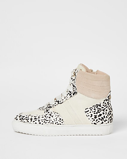 Girls beige leather high top trainers