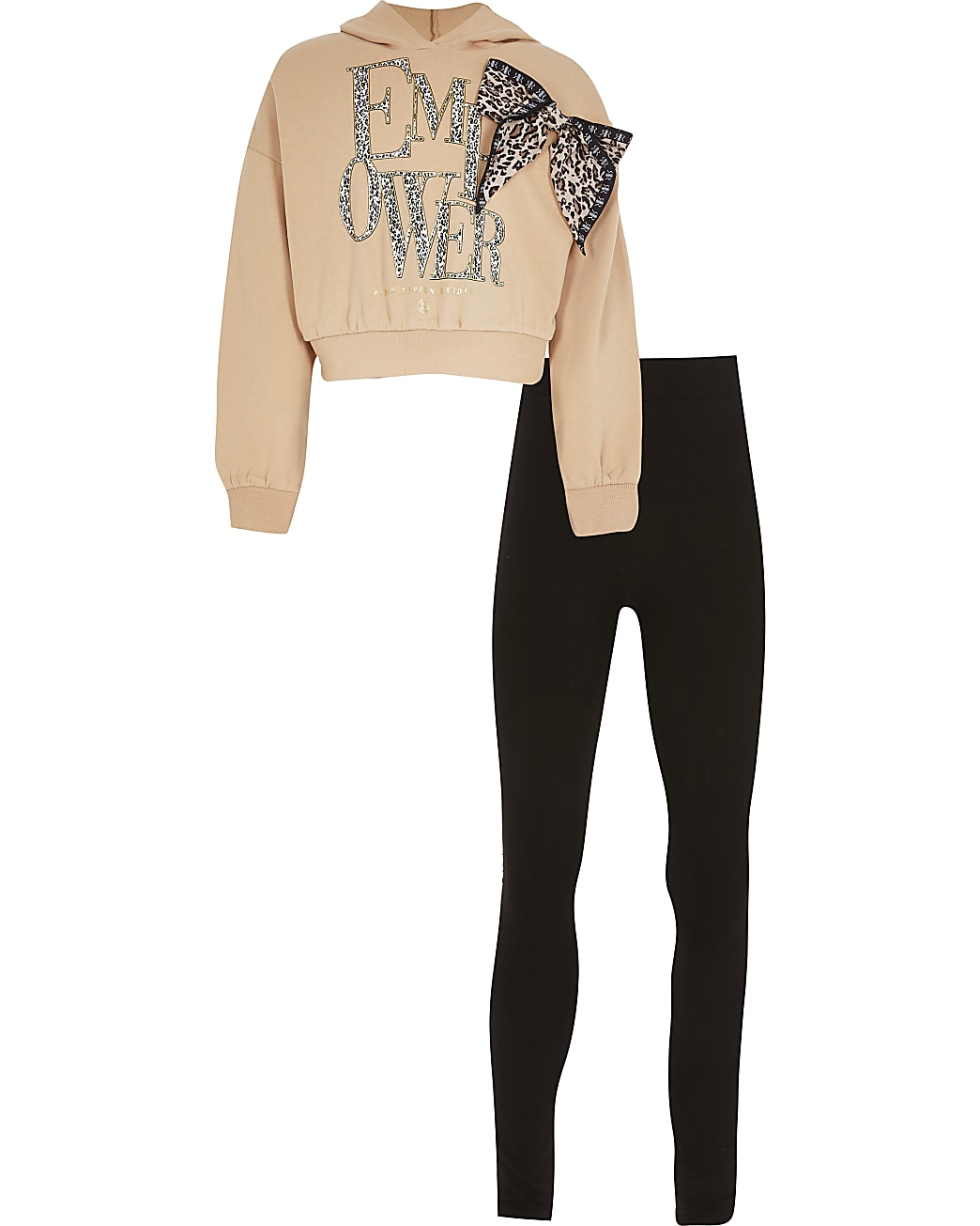 Girls beige leopard bow sweat outfit