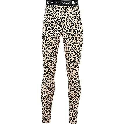 Girls beige leopard leggings