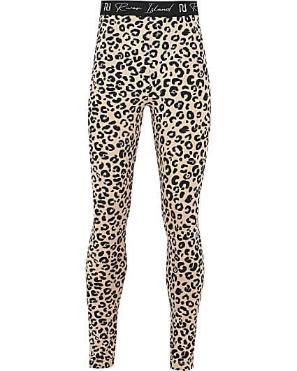 Girls beige leopard leggings