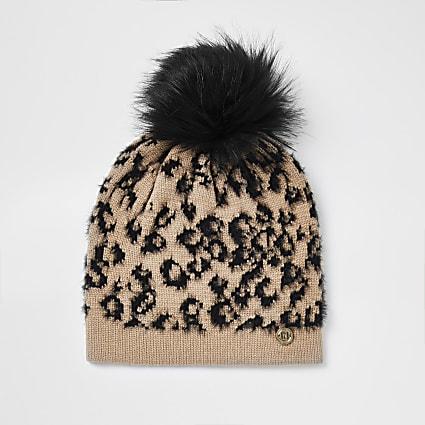 Girls beige leopard print beanie hat