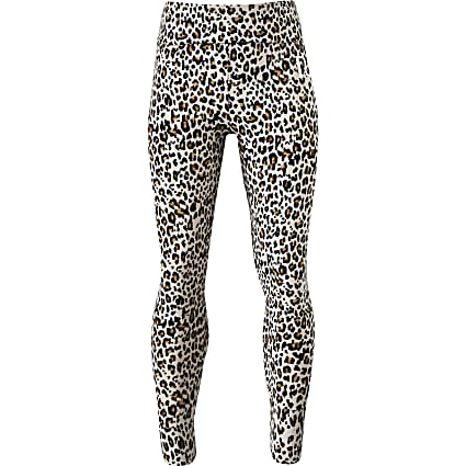 Girls beige leopard print legging