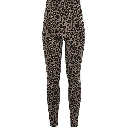 Girls beige leopard print RI leggings