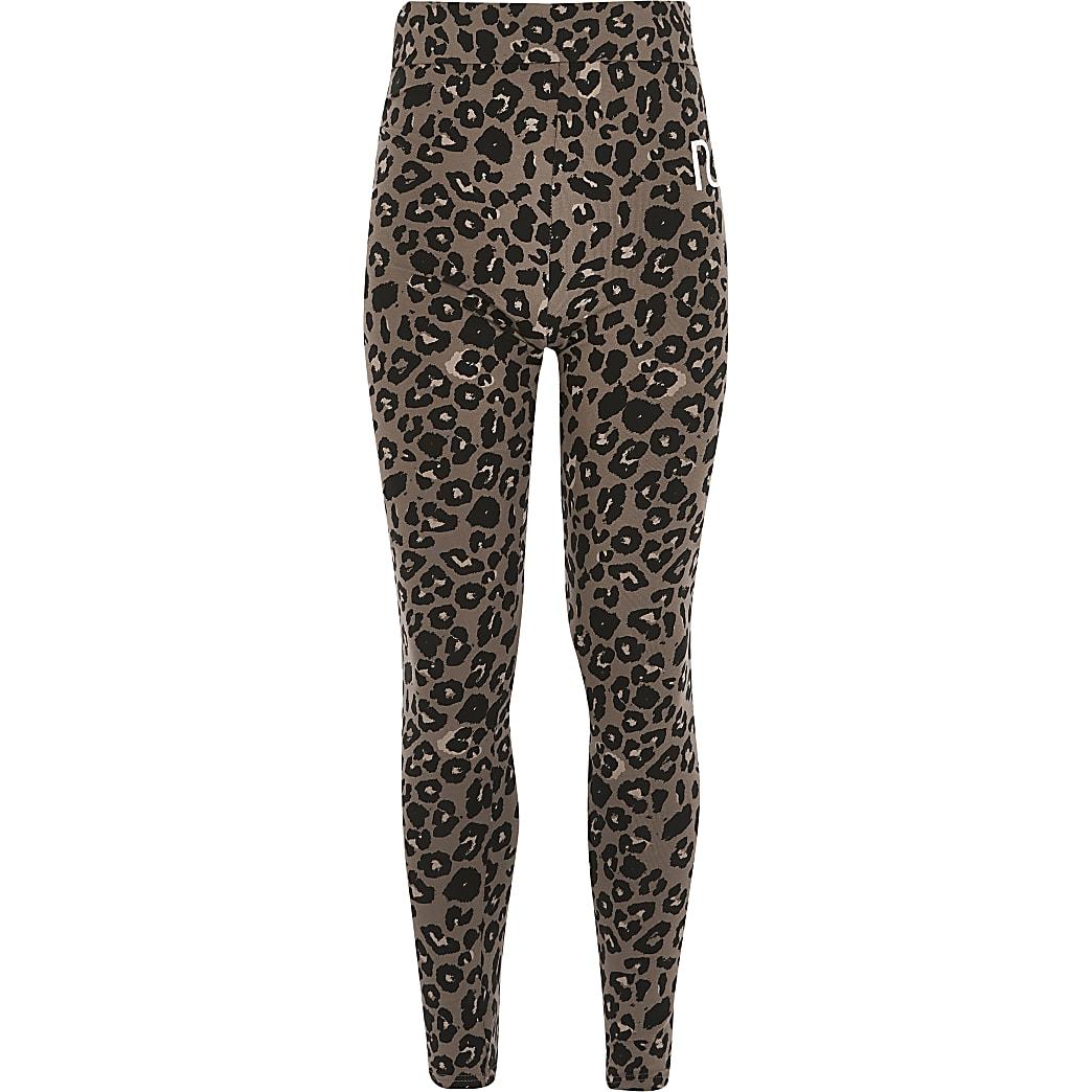 Beige legging met luipaardprint en RI-letters voor meisjes