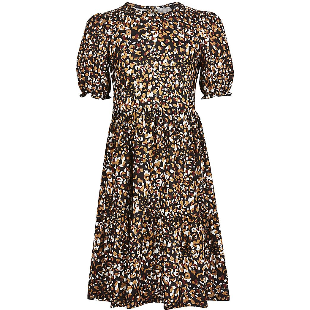 Girls beige leopard print smock dress