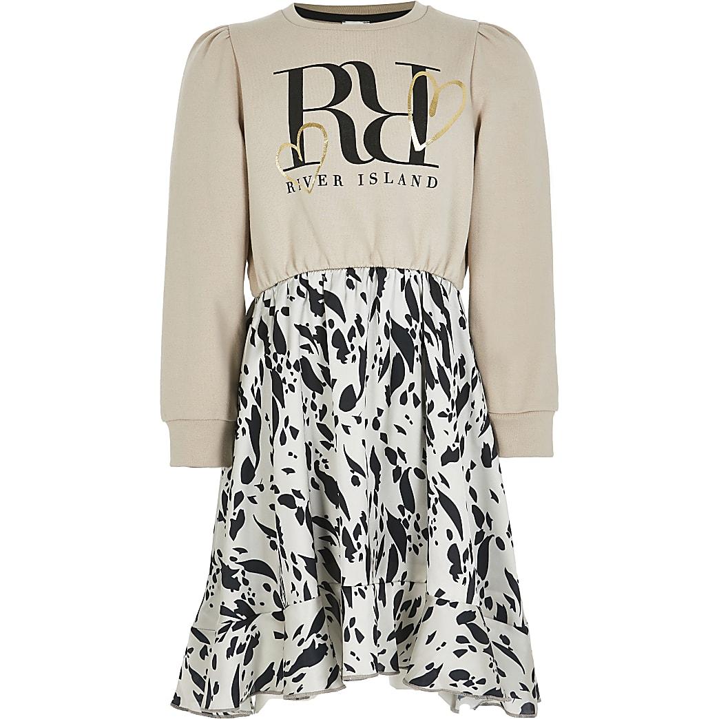 Girls beige leopard print sweat dress